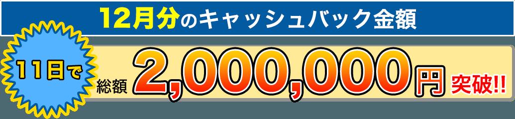 11日でキャッシュバック総額2,000,000円突破!!